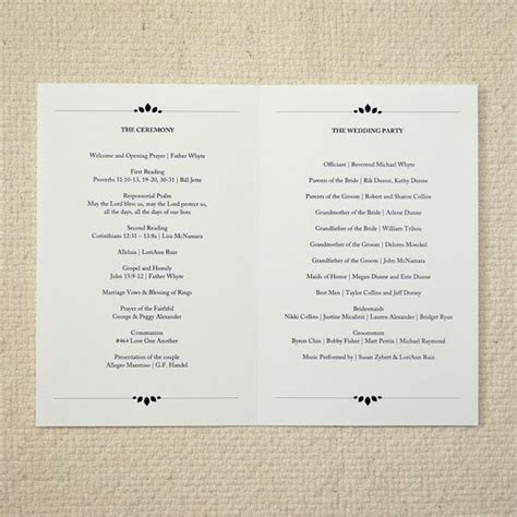 wedding ceremony order of service template 25 best ideas about order of service template on