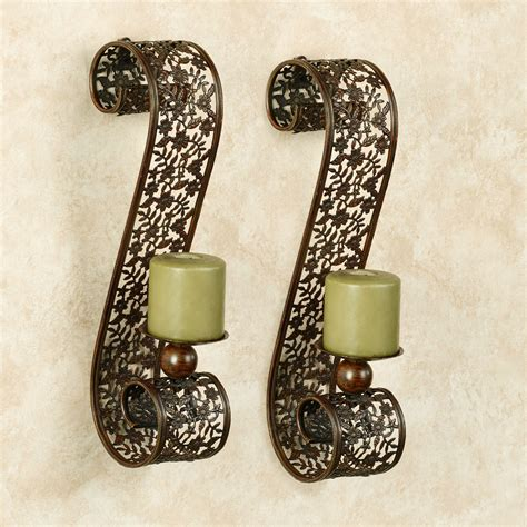 Metal Wall Sconces Diandre Antique Bronze Metal Wall Sconce Pair