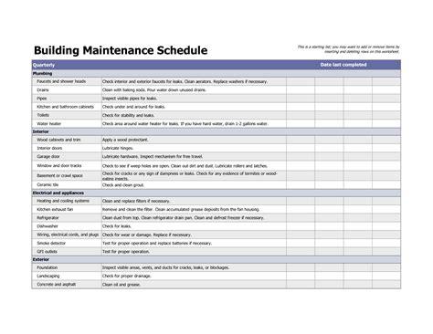 Building maintenance schedule excel template home maintenance