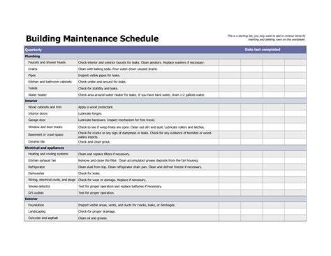 building maintenance schedule excel template home
