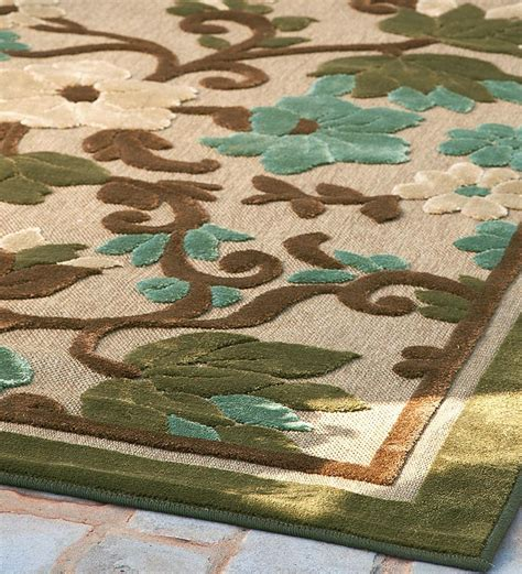 Outdoor Rug 8 X 10 8 X 10 Indoor Outdoor All Weather Olefin Tropical Garden Area Rug Indoor Outdoor Rugs