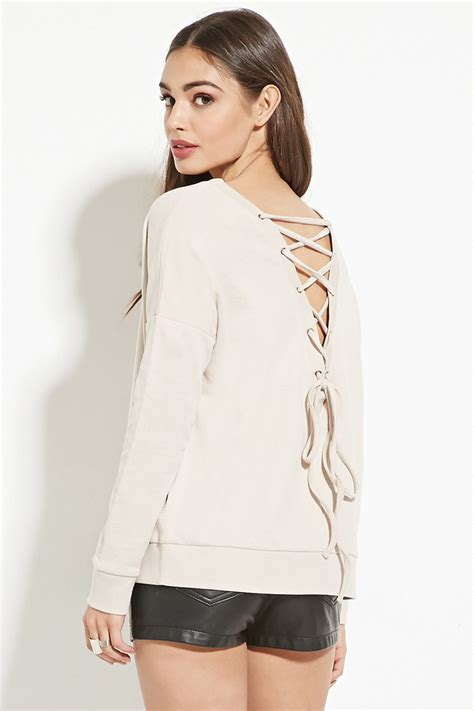 Lace Up Sweatshirt forever 21 lace up back sweatshirt you ve been added to