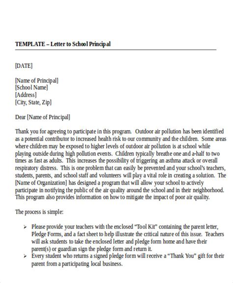 Cover Letter Addressed To Principal Sle Formal Letter 7 Exle In Pdf Word