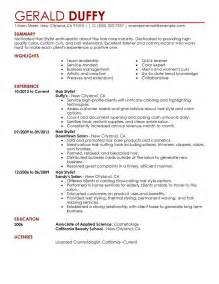 Resume Exles For Hairstylist by Hair Stylist Resume Exles Salon Spa Fitness Resume Sles Livecareer