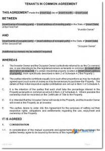 Ownership Agreement Template tenants in common agreement template to manage joint ownership
