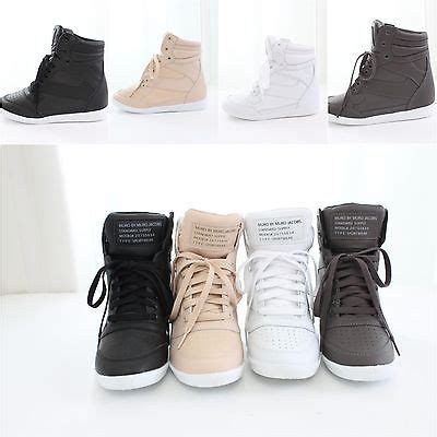 Boots Wedges Korea Style White new womens korean high top wedge flatform lace up