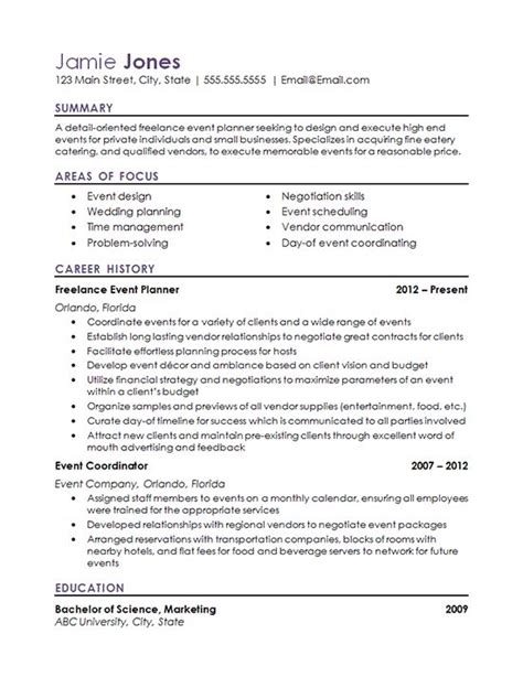 event planning resume exle 1000 ideas about resume exles on resume