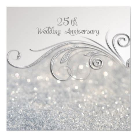 25th Wedding Anniversary Cards by Sparkle Silver 25th Wedding Anniversary Card Zazzle