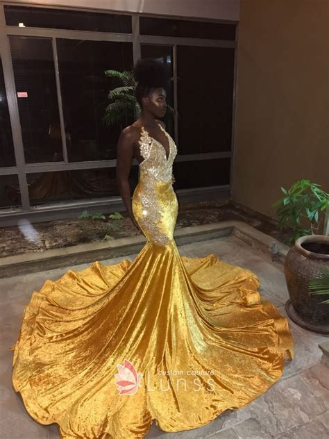 Stunning Lace Appliqued Gold Velvet Plunging Neckline