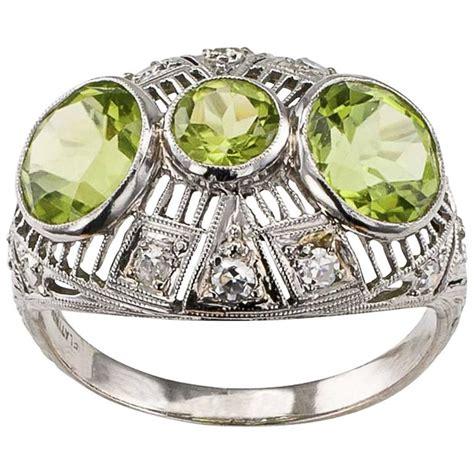 deco peridot ring deco peridot platinum ring for sale at 1stdibs