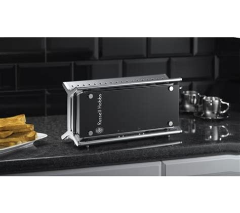 Black Glass Toaster hobbs 14356 2 slice toaster black glass box damage ebay