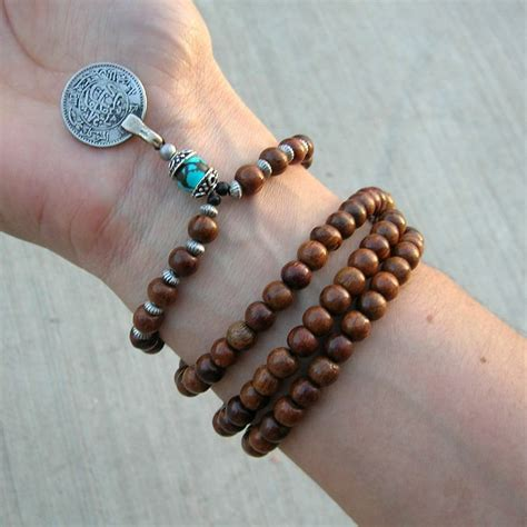 how to make a prayer bead bracelet 108 wood prayer and turquoise gemstone with vintage