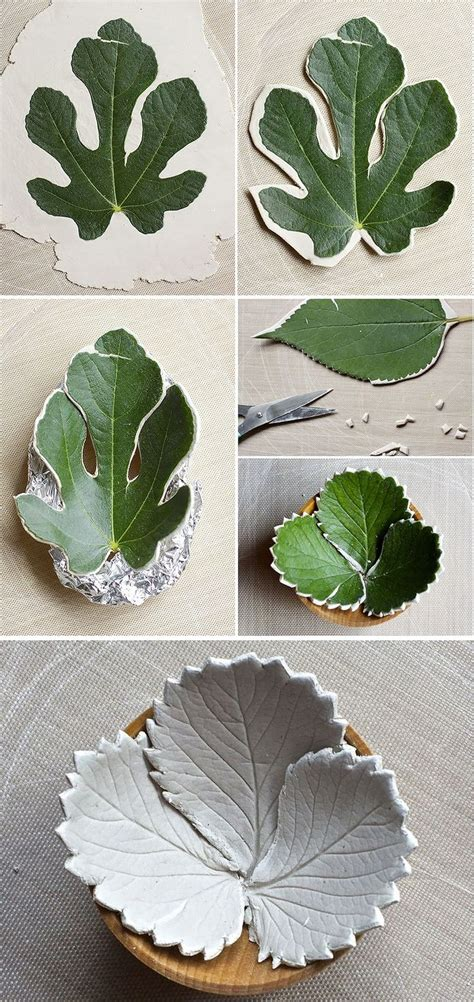 leaf crafts projects diy leaf bowls made from air clay hello how about