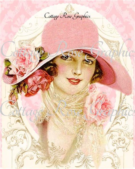 lade vintage vintage pink hat roses large digital