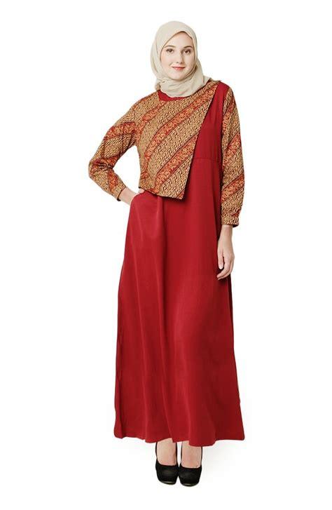 20 Koleksi Gamis Batik Kombinasi Modis 2018 Terbaru   Gambar Busana Muslim 2018