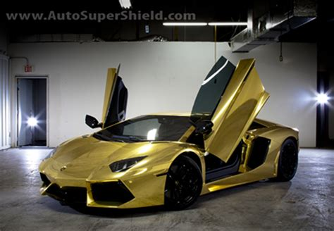 Project Au79 Gold Chrome Wrap On A Lamborghini Aventador