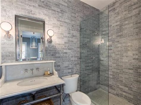 gray tile bathroom transitional bathroom bhg