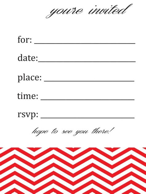 Items Similar To General Blank Chevron Birthday Or Party Invitation On Etsy Blank Birthday Invitation Template