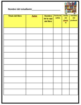 classroom library book checkout form english spanish