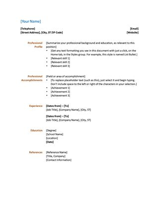 Simple Resume Office Templates Simple Resume Template Microsoft Word