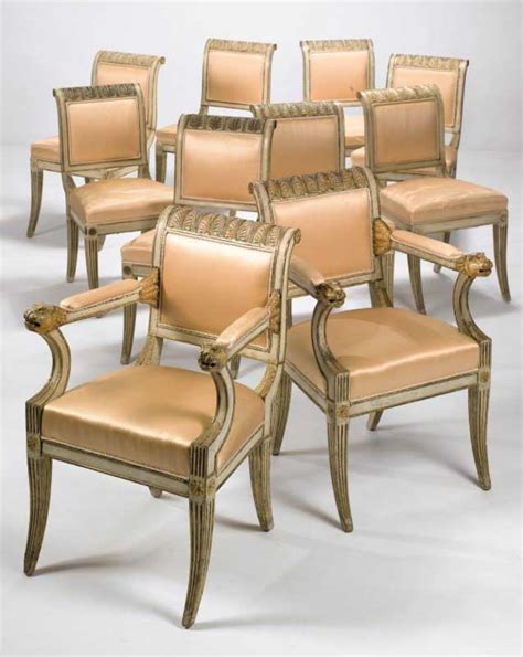 Set Of Ten Italian Neo Classical Cream Painted And Painted Dining Chairs For Sale