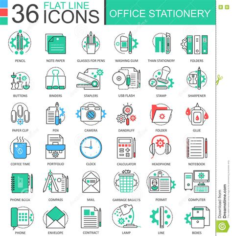 icon design office office stationery thin line web icons set outline icon