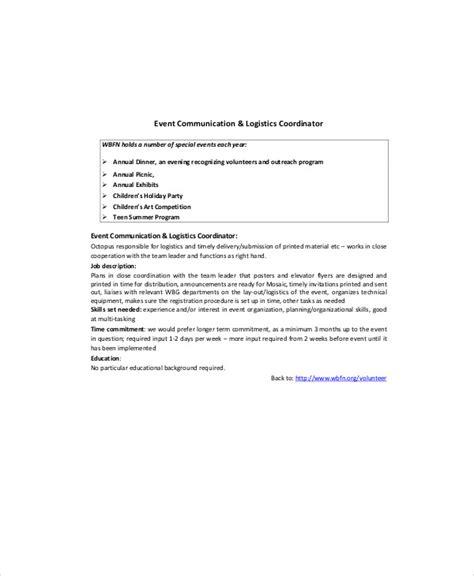 Shipping Coordinator by Logistics Coordinator Description Sle 9 Exles In Word Pdf