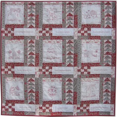 Redwork Quilt by As Sweet As Cinnamon Springtime Fresh Redwork