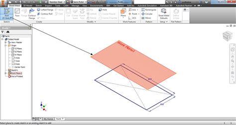 sketchbook artinya membuat bentangan pelat ducting di autodesk inventor