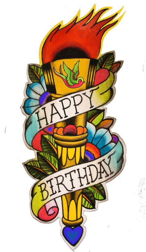 happy birthday tattoo card cards and posters pinterest