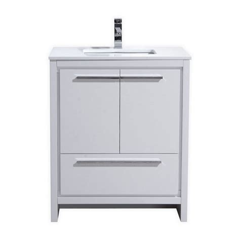 White Vanity Cabinets For Bathrooms 30 Inch High Gloss White Modern Bathroom Vanity With White Quartz Countertop