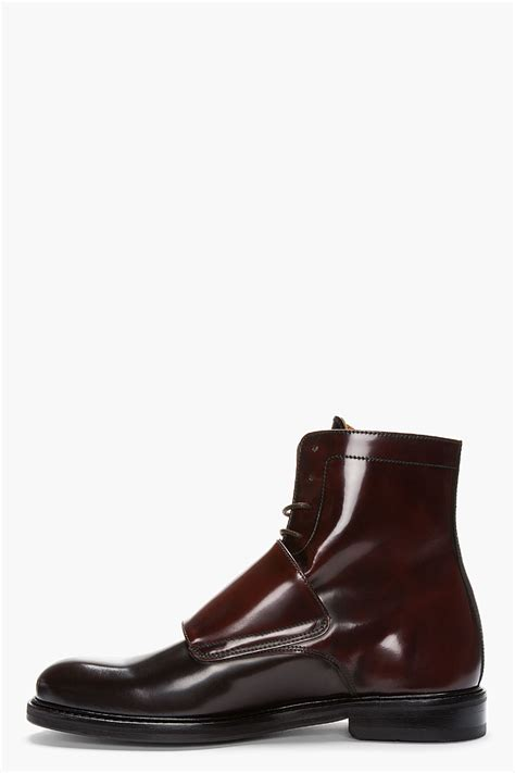 monk boots lyst carven mahogany two tone monk boots in brown