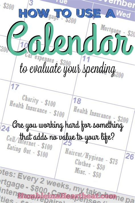 how to use a calendar to evaluate your spending humble
