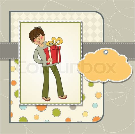 Big Boy Gift Card - greeting card with boy and big gift box stock vector colourbox