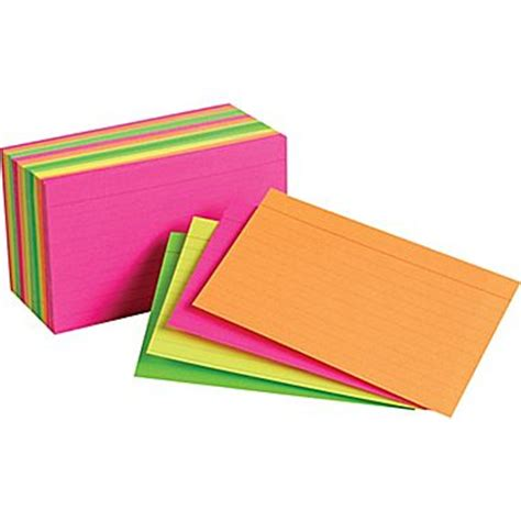 Multi 13a Neon staples index cards 3 quot x 5 quot line ruled neon assorted color