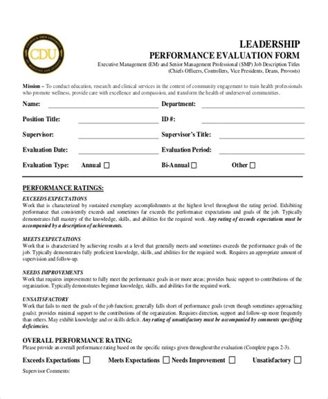 Performance Appraisal Template For Senior Management Senior Executive Performance Review Template