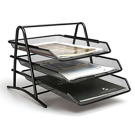 Akrilik Tempat Kutek 5 Tingkat aojia 3 tier steel mesh desk tray mesh paper tray mesh
