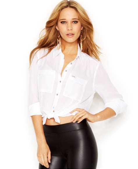 Collar Crop Baju Rajut Blouse guess sleeve point collar cropped blouse in white lyst