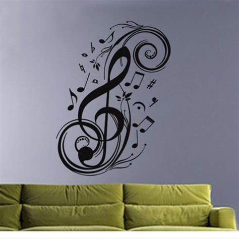 music wall decor wall art decor removable vinyl decals stickers musical music notes swirls alex nld