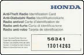 car radio code calculator honda anti theft radio id card