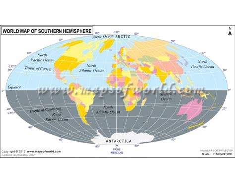 world map of southern hemisphere
