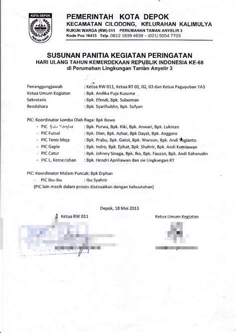 Contoh Notulen Rapat Kantor Pemerintah by Surat Pemberitahuan Kontribusi Iuran Susunan Panitia