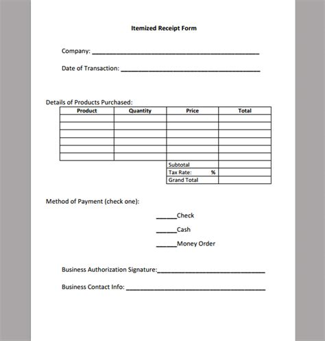 itemized receipt template best photos of itemized invoice template itemized