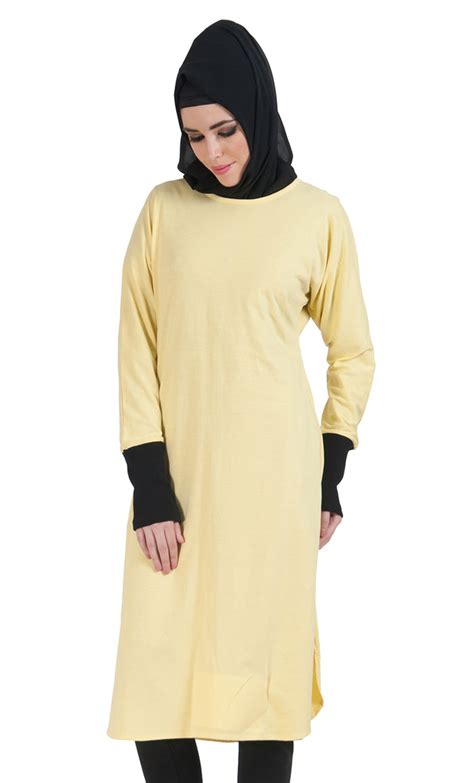 Sakivazra Color Block Tunic Muslim Blouse slip on color block cotton knit tunic yellow shop at discount price islamic clothing