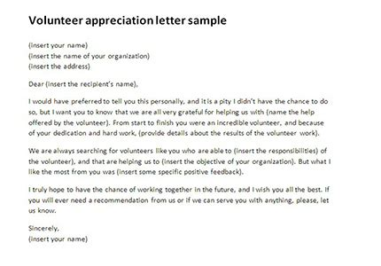 appreciation letter to ngo volunteer appreciation letter sle volunteer thank you