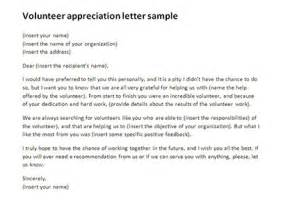 volunteer appreciation letter sample volunteer thank you