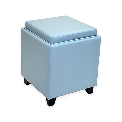 Ottoman Bed Bath And Beyond Buy Dubai Contemporary Storage Ottoman With Tray In Sky Blue From Bed Bath Beyond
