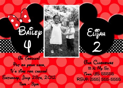 mickey mouse 2nd birthday invitations mickey mouse 2nd birthday