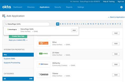 Tas C K Okta okta setup for the admin portal statuspage io