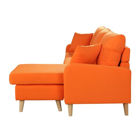 Chaise Orange Modern Fabric Small Space Sectional Sofa W Reversible